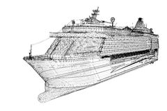 Cruise liner. Ship,  body structure, wire model Royalty Free Stock Photo