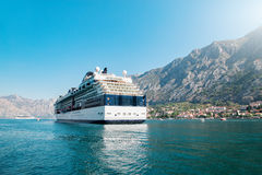 Cruise liner ship swimming at blue Adriatic sea Royalty Free Stock Photography