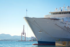 Cruise liner. At the shipbuilding zone stock photos