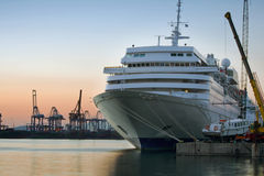 Cruise liner. At the shipbuilding zone at the evening Royalty Free Stock Images