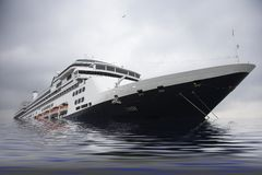Cruise liner sinking in sea. Modern cruise liner ship sinking in sea with cloudscape background Royalty Free Stock Photos