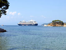 Cruise liner, Skiathos, Greece. Royalty Free Stock Photos