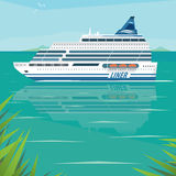 Cruise liner slowly floats on flat surface of sea. Big beautiful cruise liner slowly floats on flat surface of sea by the shore on a clear day. Side view. Voyage Stock Image