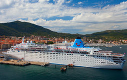 Cruise liner Thomson `Dream` was docked in the port of Ajaccio. Corsica island, France. Stock Photo
