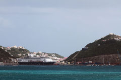 Cruise liner in tropical port. Philipsburg, Saint-Martin Royalty Free Stock Images