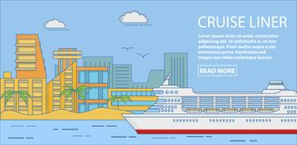 Cruise liner vector horizontal banner in flat linear style Royalty Free Stock Photo