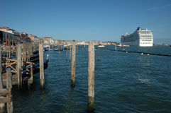 Cruise liner in venice lagoon Stock Photography