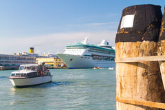 Cruise liner in Venice lagoon. Royalty Free Stock Photo