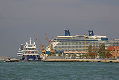 Cruise liner in a water of the Venetian lagoon Stock Images