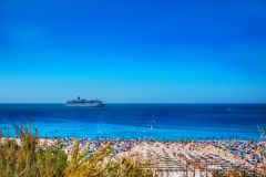 Cruise liner in the waters of Praia da Rocha. Portimao, Algarve, Portugal Royalty Free Stock Photos