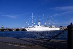 Cruise liner Wind Surf departs from St. Petersburg, Russia Royalty Free Stock Photos