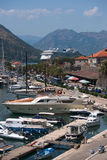 Cruise liner and yachts in Kotor bay Montenegro. In the parking lot stock photos