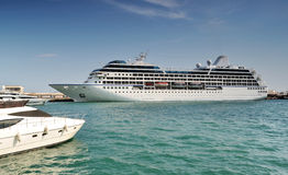 Cruise liner in Yalta port. Crimea. Ukraine Royalty Free Stock Photos