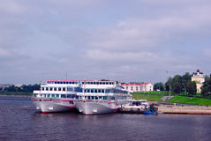Cruise Liners Docked in Uglich (Golden Ring of Russia) Royalty Free Stock Image
