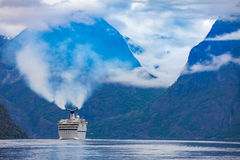 Cruise Liners On Hardanger fjorden Stock Photos