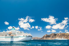 Cruise liners near the Santorini island, Greece Royalty Free Stock Images