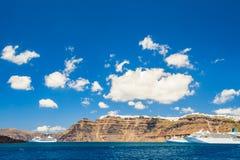 Cruise liners near the Santorini island, Greece Stock Photography