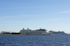 Cruise liners in the passenger port of St. Petersburg, Russia Royalty Free Stock Photography