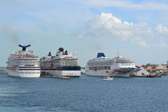 3 Cruise liners at port. 3 cruise ships dock at one port at the same time Royalty Free Stock Images