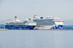 Cruise liners Royal Princess and Mein Schiff 2 in the harbor of Stock Image