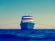 Cruise liveaboard yacht in blue sea, ocean horizon Royalty Free Stock Photo