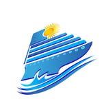 Cruise logo. Cruise sun and waves logo vector eps10 Stock Photos