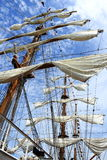 Cruise mast and sail. Mast and sail on cruise Royalty Free Stock Image