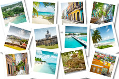 Cruise memories on photos - summer caribbean vacations Stock Photo