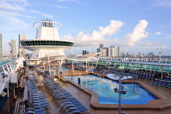 Cruise and Miami Skyline Royalty Free Stock Photo