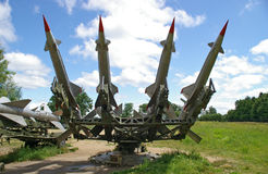 Cruise missile launcher. Ground-based cruise missiles on  launcher Royalty Free Stock Image