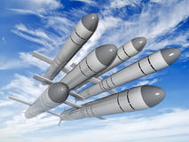 Cruise missiles flying against the clouds Royalty Free Stock Photos