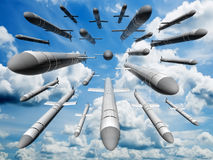 Cruise missiles flying against the clouds Royalty Free Stock Photo