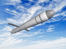 Cruise missiles flying against the clouds Stock Images
