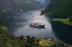Cruise in Naeroyfjord, Norway Royalty Free Stock Photos