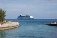 Cruise Ship Open Seas Two Islands Royalty Free Stock Photo