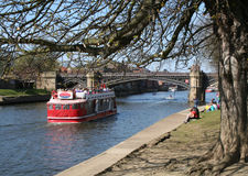 Cruise on the Ouse. A tourist boat on the River Ouse in York royalty free stock images