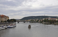 Cruise over Vltava river in Prague Czech Republic Royalty Free Stock Photos