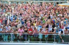 Cruise party. Open deck sail away party onboard cruise ship P&O Ventura royalty free stock photo