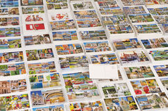 Cruise ports of call postcards with rear blank. Stacks of cruise destinations picture postcards stacked with rear postcard left blank for message Royalty Free Stock Photo
