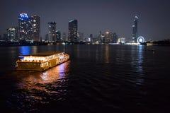 Cruise on the river at night. Bangkok, Thailand. Royalty Free Stock Photo