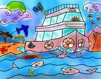 Cruise Sailing Adventure Sea Vacation Drawing Royalty Free Stock Photography