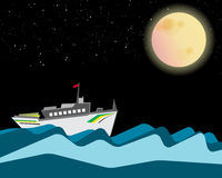 Cruise is sailing in the night with full moon and stars Stock Image