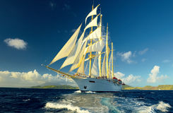 Cruise on a sailing ship. Sailing. Luxury yacht. royalty free stock photography