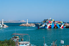 Cruise and sailing ships in Agia-Napa harbor Stock Image