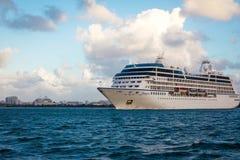 Cruise in San Juan Bay. Cruise ship in San Juan bay stock photo