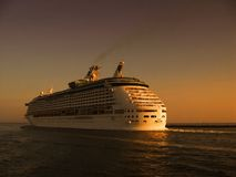 Cruise on sea. With beautiful sunset Stock Photography