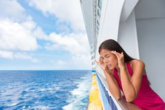 Free Cruise Sea Motion Sickness Tourist Woman Seasick On Boat Vacation With Headache Or Nausea. Fear Of Travel Or Illness Virus On Stock Images - 156953824