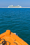 Cruise seen from a Pilot Boat Royalty Free Stock Images