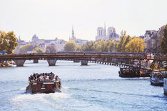 Cruise on Seine river in Paris Royalty Free Stock Photography