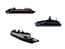 Cruise set 1. Set of Three cruise ship Stock Illustration